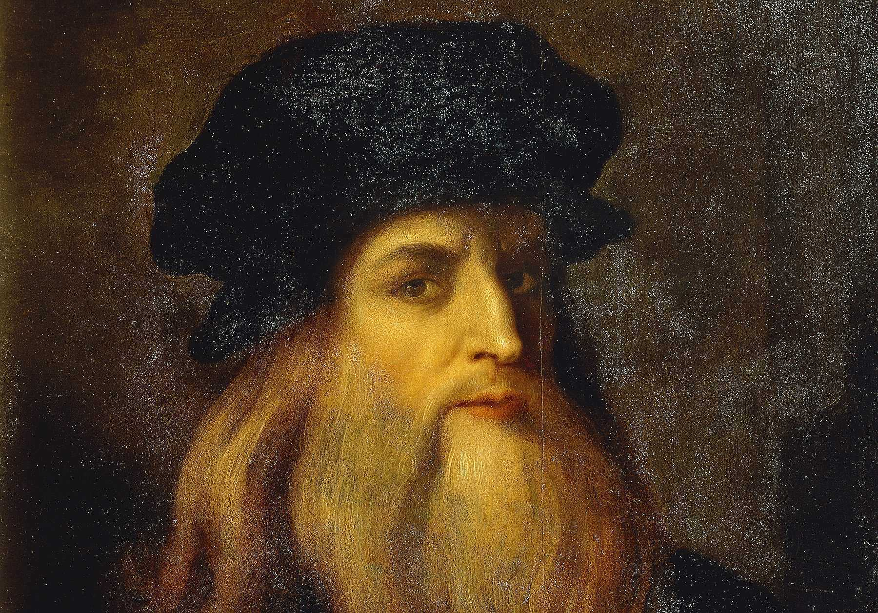 ITALY - APRIL 09: Florence, Galleria Degli Uffizi (Uffizi Gallery) Presumed self-portrait by Leonardo da Vinci (1452-1519), an Unknown Artist. (Photo by DeAgostini/Getty Images)